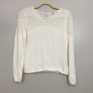 Anthropologie Knitted & Knotted White Knit Top - S